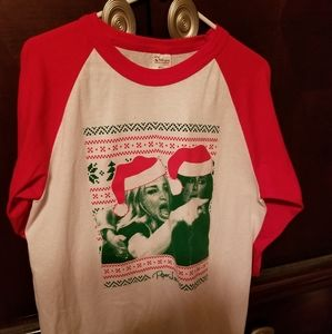 Woman yelling at cat Christmas raglan